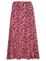 Viyella Scatter Leaf Jersey Skirt Red
