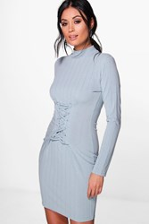 Boohoo Lace Up Corset Rib Knit T Shirt Dress Duck Egg Blue