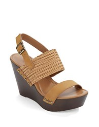 Charles By Charles David Isola Leather Platform Wedges Light Brown