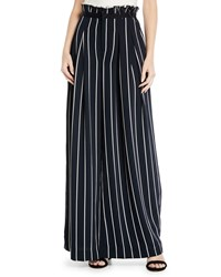Kendall Kylie Pinstriped Wide Leg Paperbag Pants Blue White