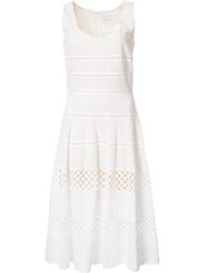 Carolina Herrera Basket Weave Flared Dress White