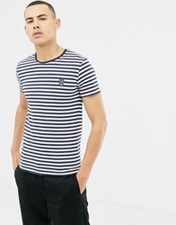 Solid T Shirt With Navy Stripe With Embroidered Skull