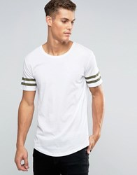 Only And Sons Longline T Shirt With Arm Stripes Curved Hem White