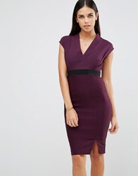 Vesper V Front Pencil Dress With Waistband Purple