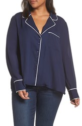 Everleigh Pajama Top With Piping Navy W Ivory Piping