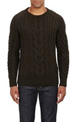 Ralph Lauren Black Label Chunky Cable Knit Sweater Green