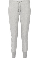 Zoe Karssen Leather Appliqued Jersey Track Pants Gray