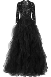 Oscar De La Renta Corded Lace And Ruffled Tulle Gown Black