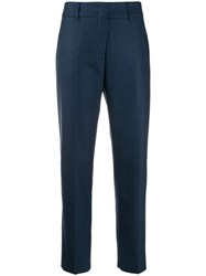 Piazza Sempione Cropped Slim Fit Trousers Blue