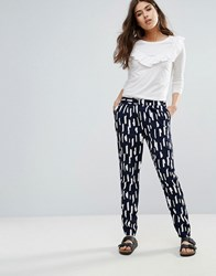 Pieces Ivalo Brushmark Printed Trousers Nvy Blzr Cld Dncr Navy