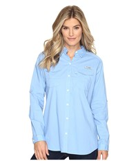 Columbia Bonehead Ii L S Shirt White Cap Women's Long Sleeve Button Up Blue