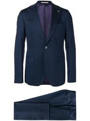 Paoloni Micro Pattern Two Piece Formal Suit Blue