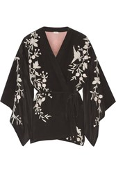Talitha Embroidered Silk Crepe Kimono Jacket Black