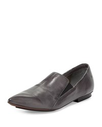 Cnc Costume National Pointed Toe Leather Loafer Gray Grey