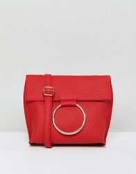 Qupid Buckle Ring Across Body Bag Red