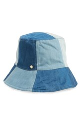 Bcbgmaxazria Patchwork Denim Bucket Hat Blue Denim Multi