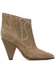 Buttero Embroidered Sides Ankle Boots Neutrals