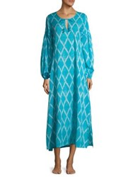 Natori Ikat Cotton Caftan Blue Breeze