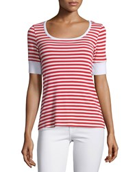 Frame Denim Le Boatneck Striped Tee Red Stripe
