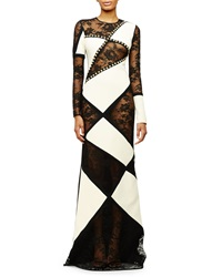 Fausto Puglisi Long Sleeve Patchwork Lace Gown Black White