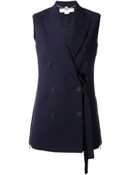 Stella Mccartney Off Centre Sleeveless Jacket Blue