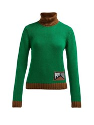 Prada Roll Neck Cashmere Blend Sweater Green Multi