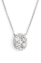 Women's Bony Levy 'Mika' Pave Diamond Small Oval Pendant Necklace Nordstrom Exclusive