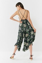 Urban Outfitters Uo Strappy Back Wide Leg Jumpsuit Green