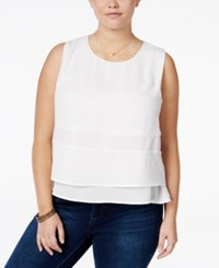 Standards And Practices Trendy Plus Size Tiered Top White