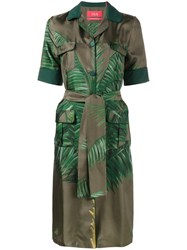 F.R.S For Restless Sleepers Palm Leaf Print Shirt Dress Green