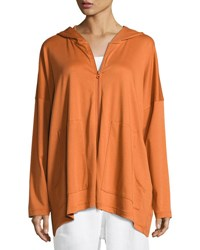 Eskandar Hooded Pima Cotton Sweatshirt Rust