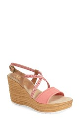 Women's Sbicca 'Alonza' Wedge Sandal Coral Fabric