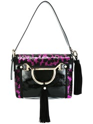 Borbonese Leopard Print Shoulder Bag Black