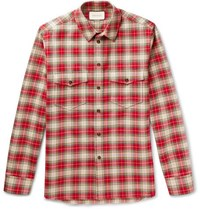 Gucci Embroidered Checked Cotton Twill Shirt Red