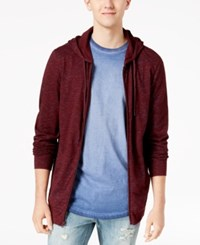 American Rag Men's Nep Full Zip Lightweight Hoodie Created For Macy's Dark Scarlet