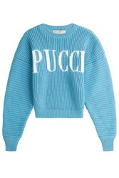 Emilio Pucci Printed Merino Wool Pullover Turquoise