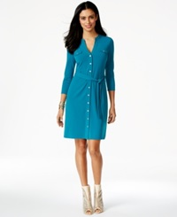 Thalia Sodi Belted Shirtdress Only At Macy's Rich Teal