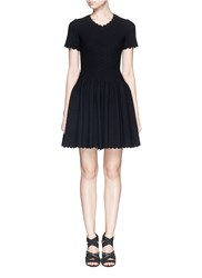 Azzedine Alaia 'Heliosphere' Cloque Knit Flare Dress Black