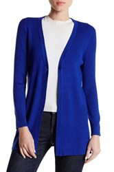 Cable And Gauge Rib Knit Cardigan Blue