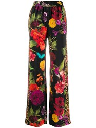 Alice Olivia Benny Floral Wide Leg Trousers Black
