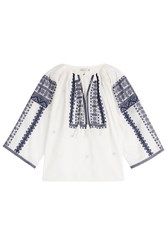 Mes Demoiselles Embroidered Cotton Peasant Top White