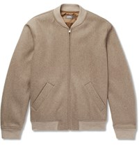 A.P.C. Gaston Wool Blend Felt Bomber Jacket Beige
