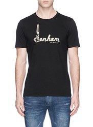 Denham Jeans 'D Scissor' Embroidered T Shirt Black