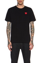 Comme Des Garcons Play Red Heart Emblem Cotton Tee In Black