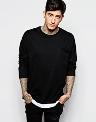 Asos Oversized Long Sleeve T Shirt With Double Layer And Extreme Pocket Black