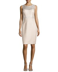 Kay Unger New York Lace Top Sheath Dress Bisque