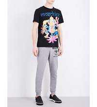 Moschino Logo Print Cotton Jersey Jogging Bottoms Grey
