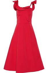 Vika Gazinskaya Wrap Effect Cotton Twill Midi Dress Red