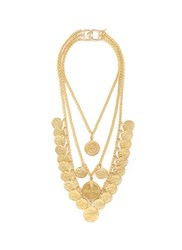 Kenneth Jay Lane Coin Charm Tiered Gold Plated Necklace Metallic