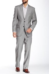 Vince Camuto Medium Grey Sharkskin Two Button Botch Lapel Modern Fit Wool Suit Gray